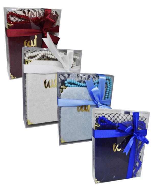 Geschenkset Koran Gebetsteppich und islamische Gebetsperlen Heilige Geschenke für Muslime Tasbih Sajjad Koran